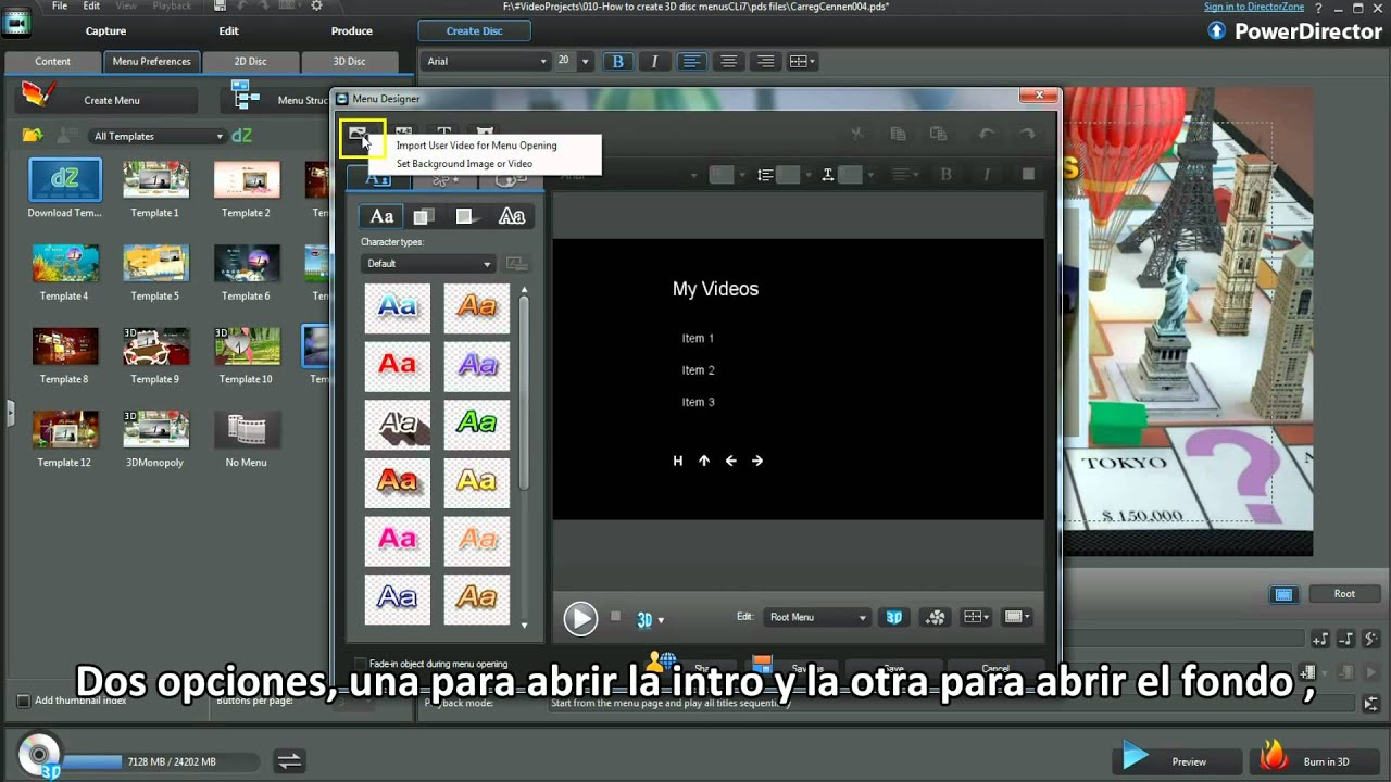 Powerdirector 10 tutorial como crear men s 3d youtube for Powerdirector dvd menu templates