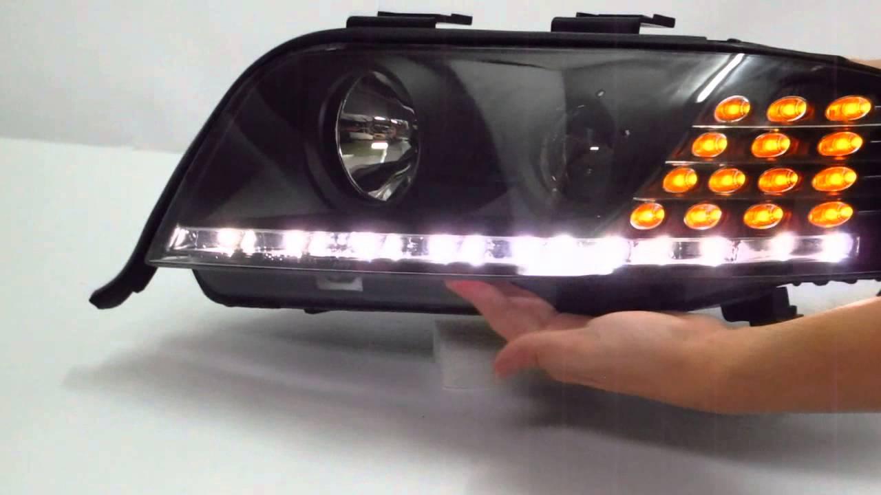 crazythegod a6 s6 2001 2005 c5 4b projector led r8 headlight w amber black for audi [ 1280 x 720 Pixel ]