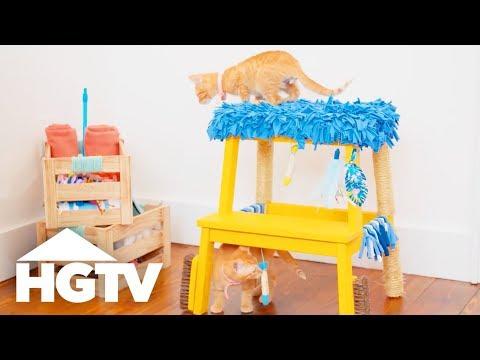 Step Stool Turned DIY Cat Tree - Easy Does It - HGTV
