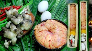 Primitive Cooking egg Fish with Mushrooms​ in Bamboo - factory Food | Wilderness Life
