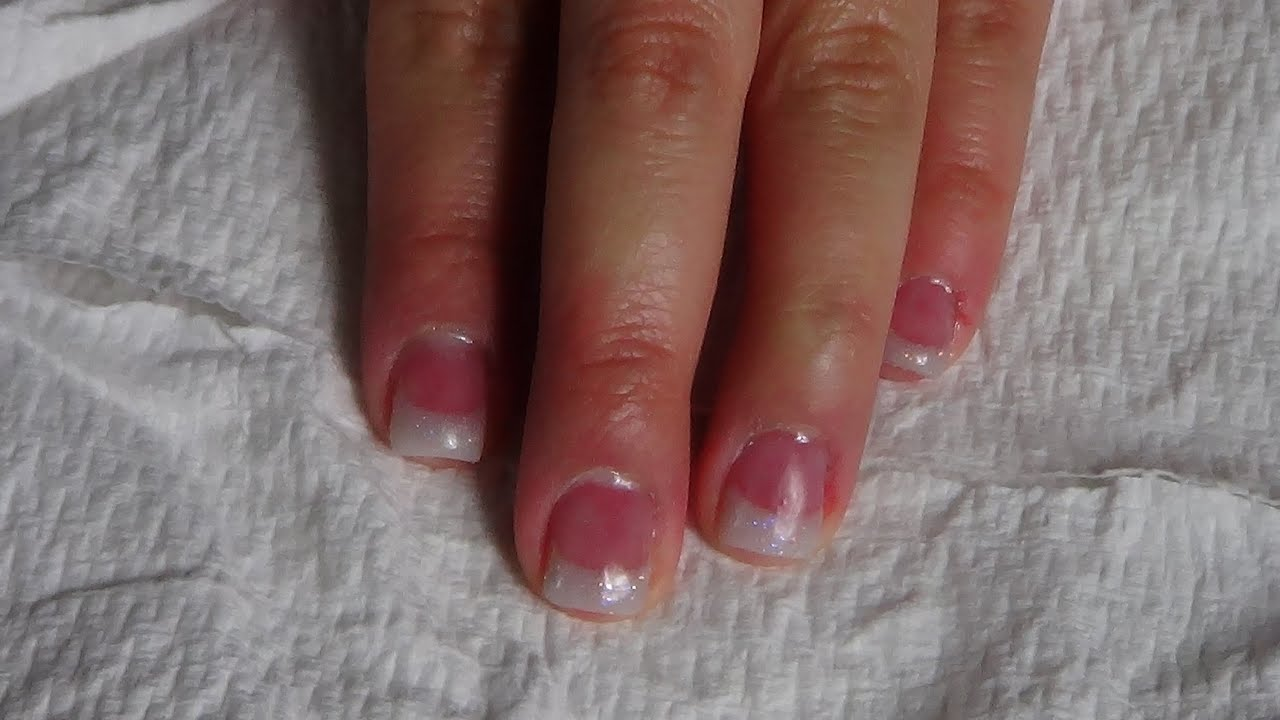 Acrylic Nails: Short Pink and White Glitter Nails - YouTube