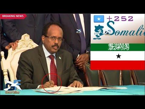 DEG DEG Farxad MD Farmaajo oo Saxixay Xeerka isgaarsinta somalia ee 252 iyo Somaliland o ka xanaqday