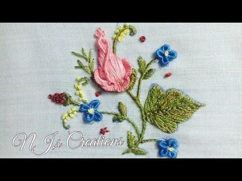 22-HAND EMBROIDERY | BRAZILIAN EMBROIDERY|Brazilian embroidery  rose bud tutorial