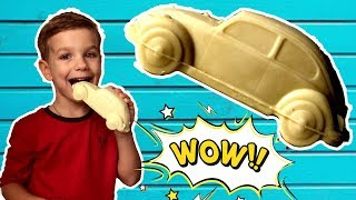 Машинка фольксваген превратилась в шоколадную. Видео для детей.