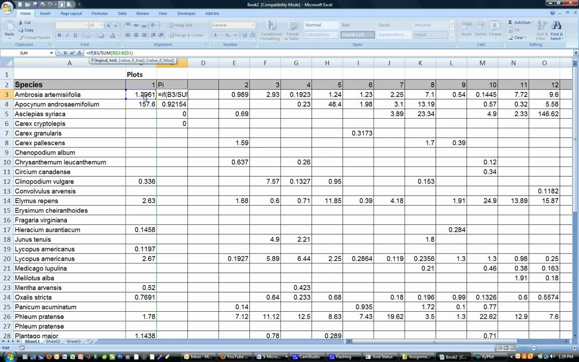 Shannon-Wiener Diversity Index (In Excel) - YouTube