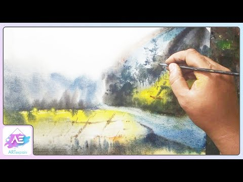 Transparent Watercolor Painting Landscape Tutorial | Art Explain