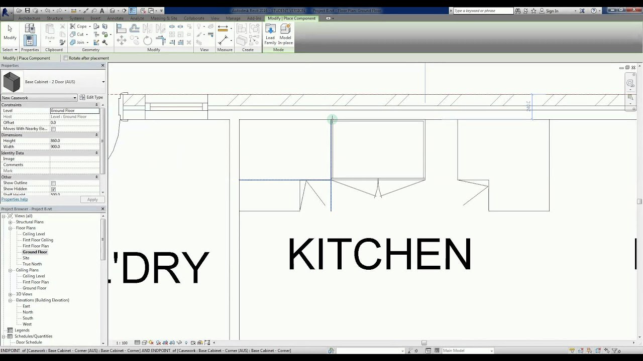 Revit 2016 Project B 17 Adding Kitchen Casework Or Joinery Youtube