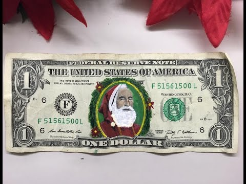 CHRISTMAS SPECIAL. Drawing of Santa Claus on the banknote, enjoy the video!