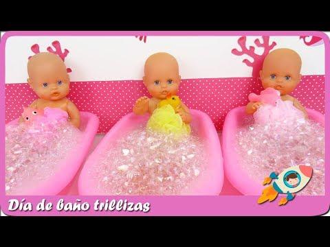 Hora del bao divertido de muecas bebs trillizas Nenucos Historias de Mundo Juguetes en espaol