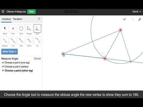 Mini Constructions with Desmos Geometry: Obtuse Angle Ambiguous Case