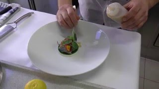 Olivier de Vinck prepares a starter with mackerel and oyster at the Michelin star Kommilfoo