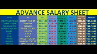 Advance Salary Sheet (Advance Excel part-3) in hindi By Kamalesh Sir