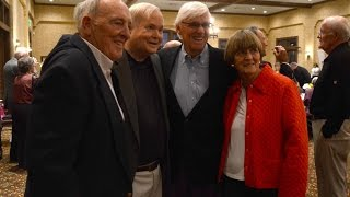 Retired college basketball coach Bobby Cremins and author Pat Conroy comment on how much having an athletic facility will benefit students at John Paul II Catholic School while guest speakers for a fundraiser for the facility on Jan. 25, 2015 at Hampton Hall Clubhouse in Bluffton.