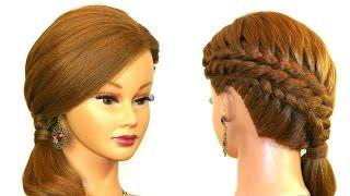 Прическа на каждый день с плетением для средних волос.