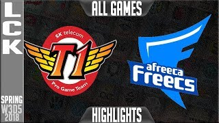 Video SKT vs AFs Highlights ALL GAMES | LCK Week 3 Spring 2018 W3D5 | SK Telecom T1 vs Afreeca Freecs download MP3, 3GP, MP4, WEBM, AVI, FLV Juni 2018