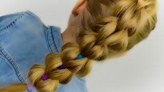 VERY BEAUTIFUL: 3D Pull Through Braid with Bright Elastics. Quick and Easy Hairstyle #30