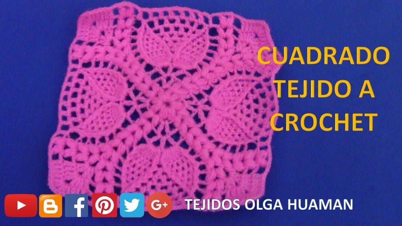 Cuadrado tejido a crochet en punto doble hoja paso a paso - Colchas de crochet paso a paso ...