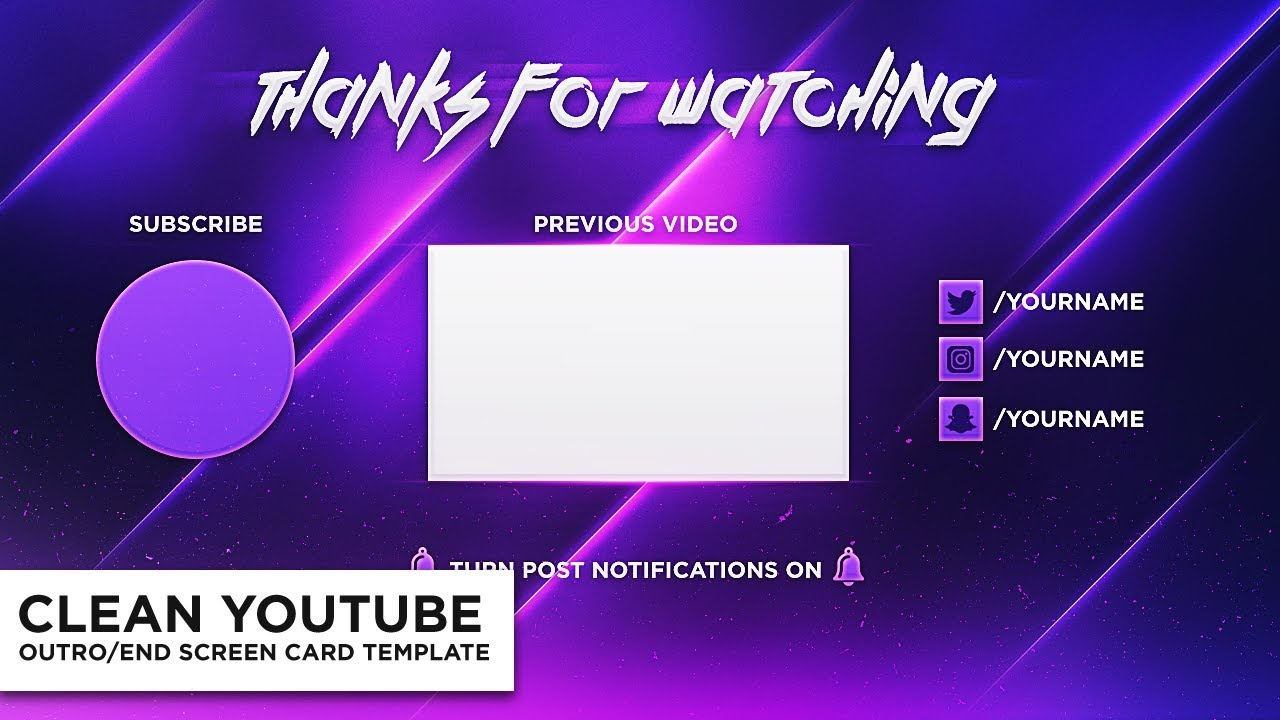 Clean Outro/End Screen Card Photoshop Template *FREE* - YouTube