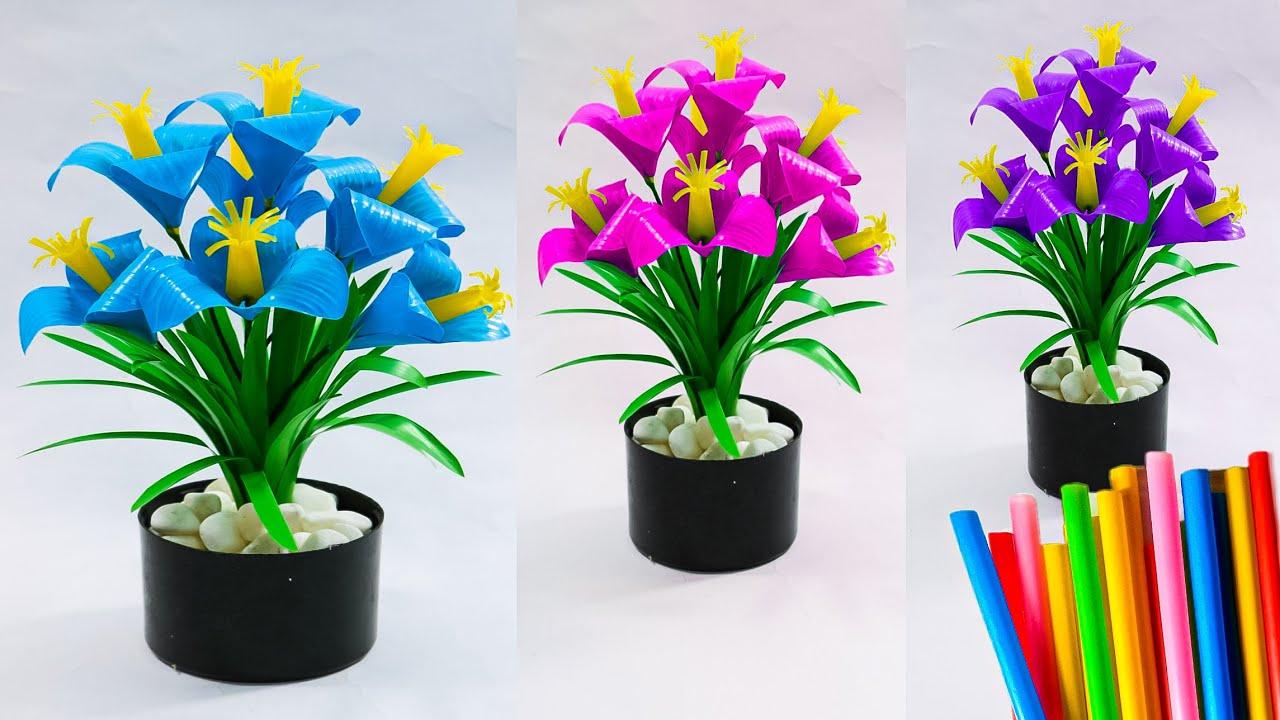 Membuat Bunga Dari Sedotan Yang Sederhana Dan Simple 2 Diy Straw Youtube