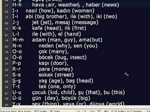 Turkish Alphabet II Letter Pronunciations and Sample