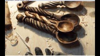 Деревянная ложка с резной ручкой. резьба по дереву, woodcarving, wooden spoon. DIY