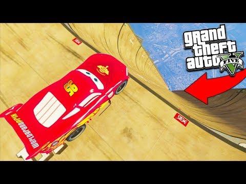 GTA 5 CARS Lightning McQueen Mod & More Modded Cars Stunts   GTA 5 Mod Gameplay