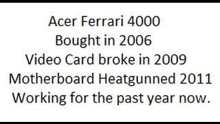 AMD Acer Ferrari 4000 laptop Boot Test in XP.  Broken Video Card Fixed with Heat Gun