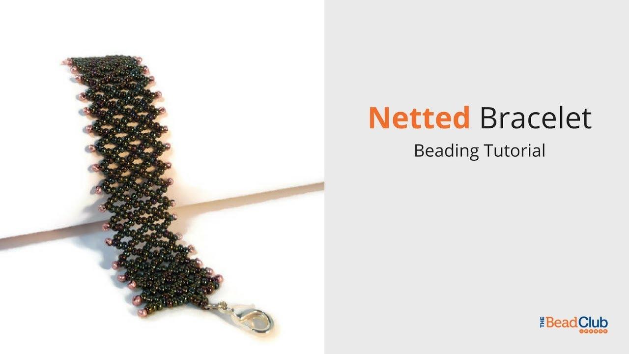 Horizontal bead netting tutorial with diagram | beaded bracelet.