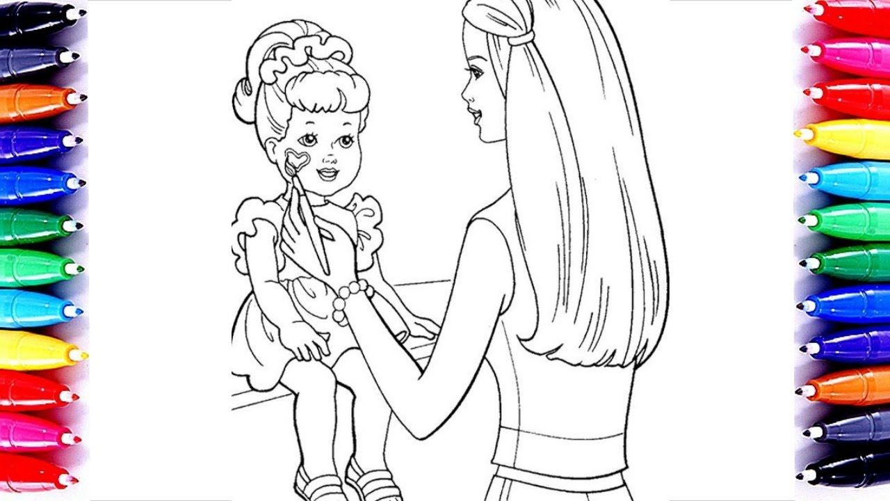 Barbie Painting Chelsea Coloring Book Pages For Kids Learn Color