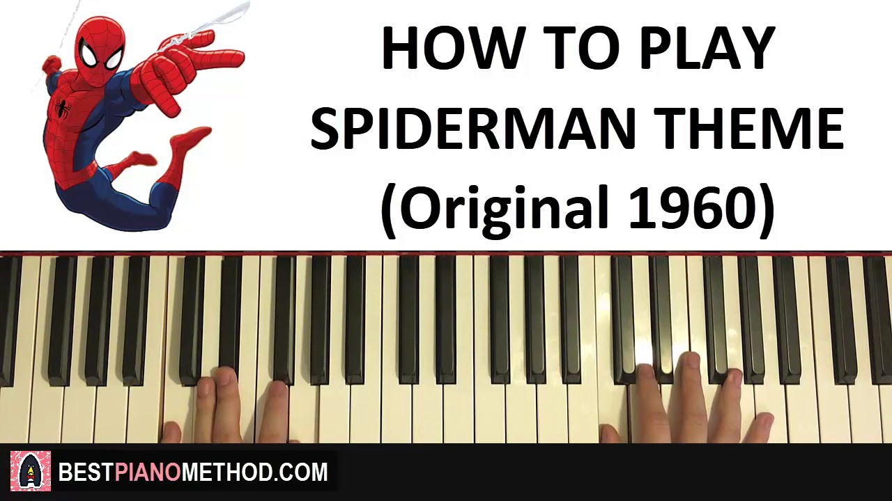how to play spiderman theme song original 1960 39 s piano tutorial lesson youtube. Black Bedroom Furniture Sets. Home Design Ideas