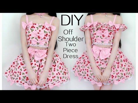 DIY Off Shoulder(Detachable) Two-Piece Cherry Dress