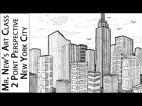 Viewer Request: Drawing New York City - 2 Point Perspective Tutorial - How to Draw 3D Spaces