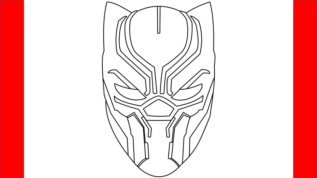 How To Draw Black Panther Mask - Step by Step Drawing ...