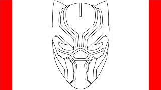 How To Draw Black Panther Mask - Step by Step Drawing