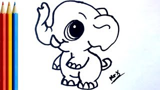 How to Draw a Baby Elephant - Easy Step by Step Tutorial