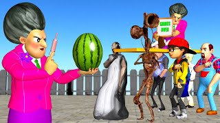 Scary Teacher 3D Siren Head and Granny Troll Miss T Fruits Game Over Coffin Dance Compilation