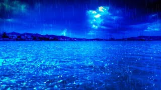 Rain Sounds & Thunderstorm with Ocean Waves | Sleep, Study, Focus | White Noise 10 Hours