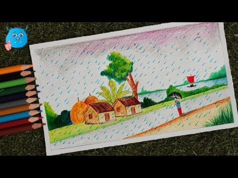 rainy-season-drawing-tutorial-with-pencil--how-to-draw-a-scenery-of-village-rainy-day