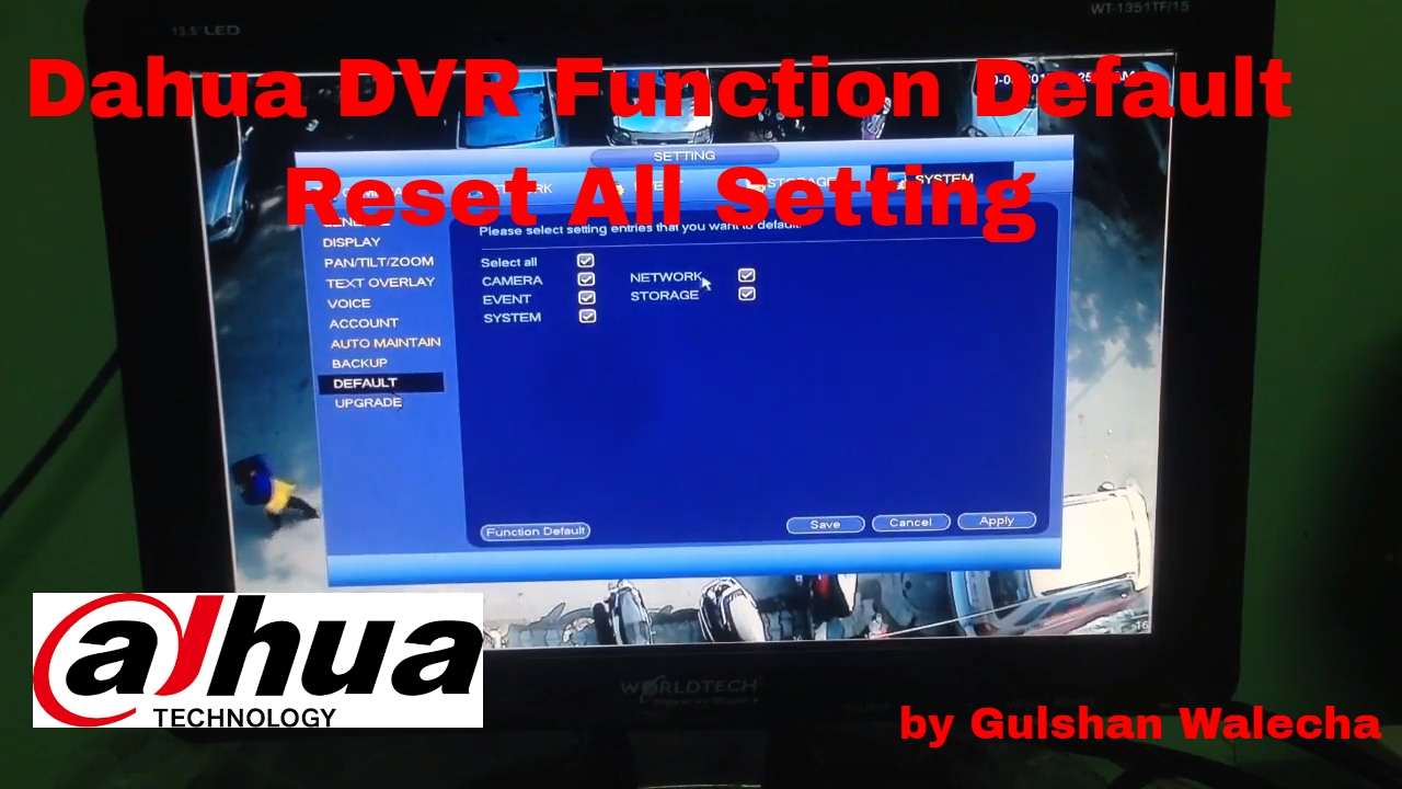 How to Function Default Setting in Dahua DVR !
