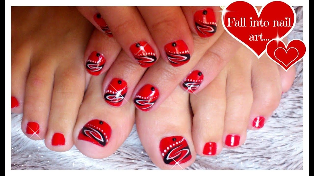Red Nail Art For Short Nails  Tattoo Nails  Black and White Nail Art