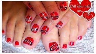 Red Nail Art For Short Nails | Tattoo Nails | Black and White Nail Art ♥