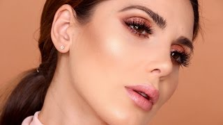 Simple Rose Gold Makeup Tutorial  - Huda Beauty Palette | Ali Andreea