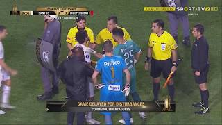 Fan riot & violence vs police suspends Independiente at Santos Copa Libertadores match on 2018-08-28