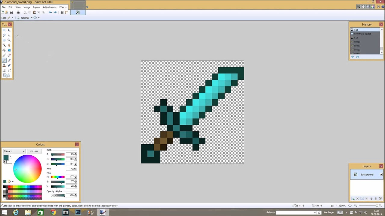How To Make Minecraft Swords On Paint Net