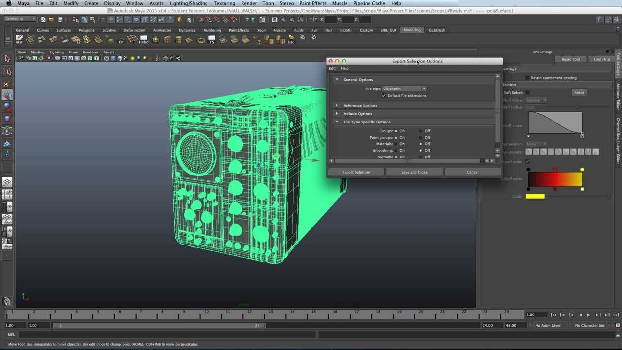 How to export models as  OBJ in Maya 2013