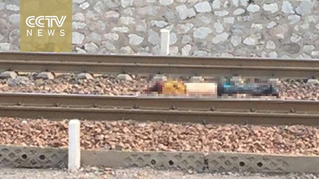 Footage: Six people were killed after being hit by a cargo train