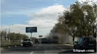 Moment of Russia bus bomb caught on dash cam