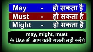 Modal Verb - May/Might/Must - Basic English Grammar in Hindi