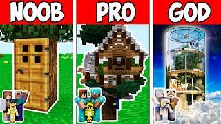 Minecraft NOOB vs PRO vs GOD  FAMILY FUTURE TREE HOUSE BUILD CHALLENGE in Minecraft