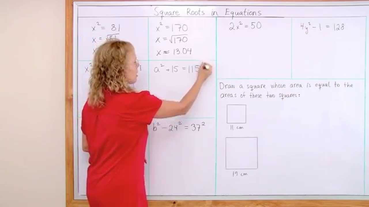 Simple equations that require taking a square root - grades 7/8 or ...